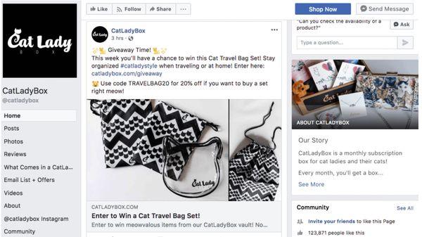 Пример продвижения страницы на Facebook с помощью подарков