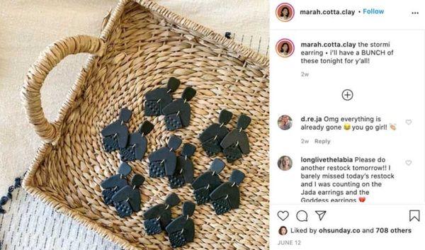 Пример сообщения в Instagram с предложение товара