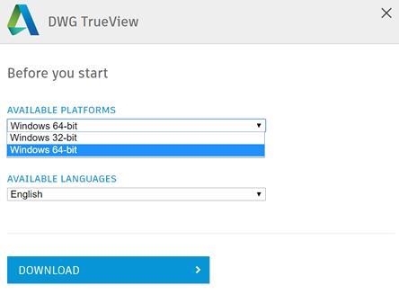 Выбор и загрузка приложения DWG TrueView
