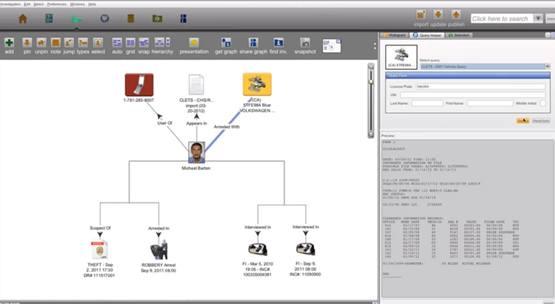 Рабочий экран системного программного обеспечения Palantir, используемого в полицейском управлении Лос-Анджелеса