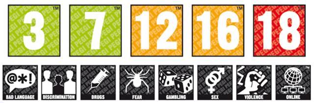 Метки классификации PEGI для рейтинга компьютерных игр