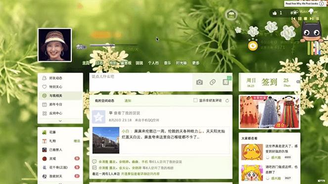 Профиль пользователя в китайской социальной сети