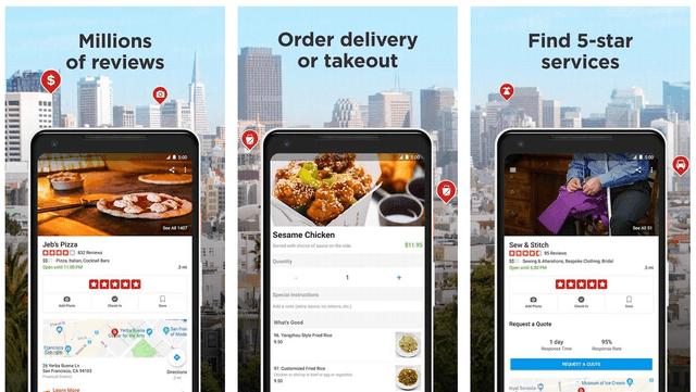 Приложение Yelp для поиска туристических сервисов