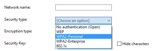 Выбор варианта защиты сети Wi-Fi на компьютере