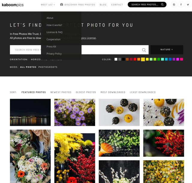 Цветовой поиск фотографий в сервисе Kaboom Pics