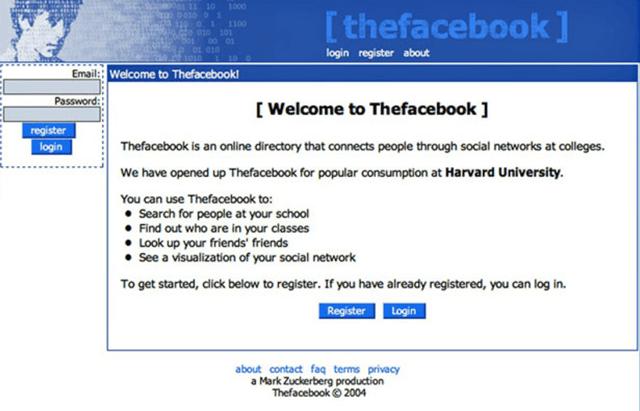 Первая страница Facebook – начало портала