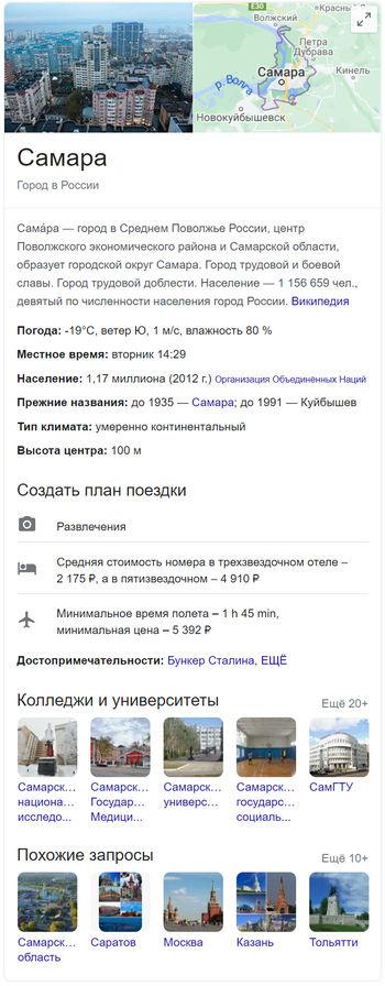 Пример графа знаний из поиска Google