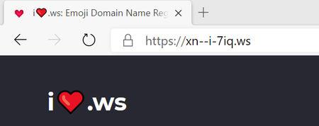 Вид эмодзи-домена в браузере
