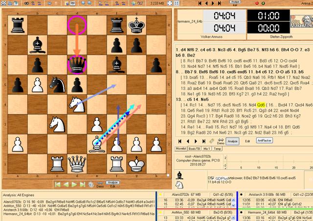 Интерфейс шахматной программы Arena