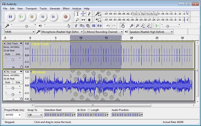 Интерфейс музыкального редактора Audacity