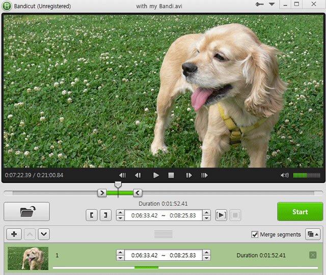 Обработка видео в приложении Bandicut