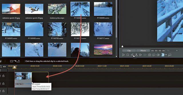 Добавление видео клипов на дорожку PowerDirector