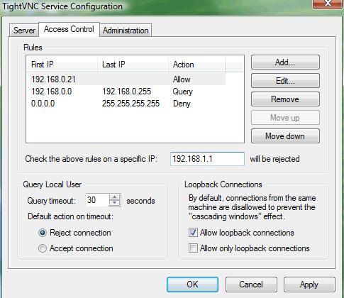 Окно подключения удаленного доступа в TightVNC