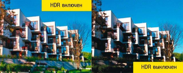 Разница между фотографиями при включенном и выключенном HDR