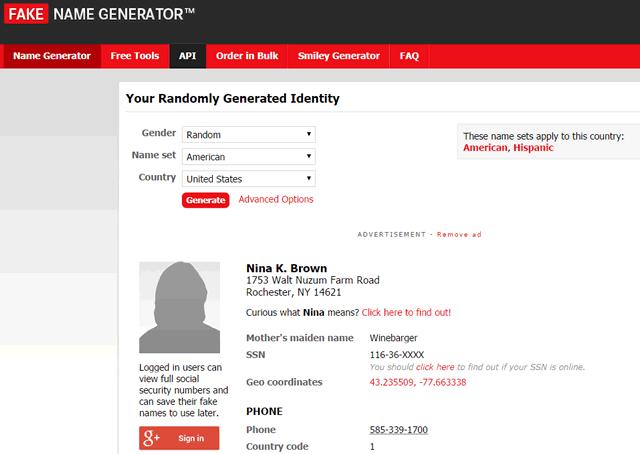 Сервис Name Generator позволяет создать фиктивный профиль пользователя из США (или другой страны)