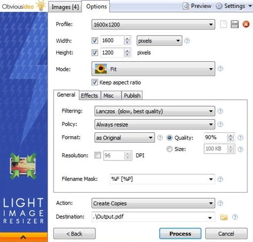 Настройка оптимизации фотографий в Light Image Resizer