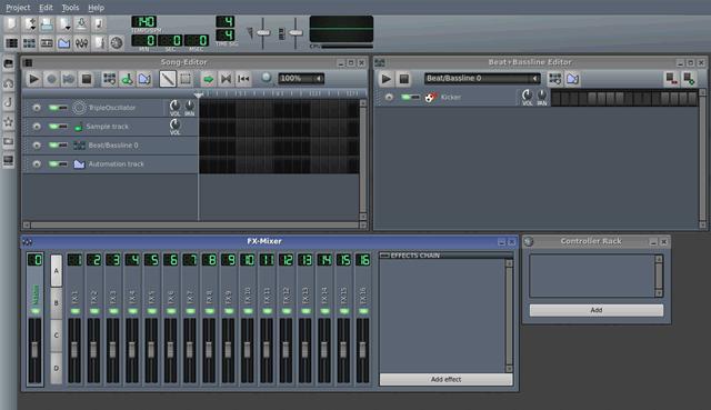 Инструмент создания и редактирования музыки LMMS