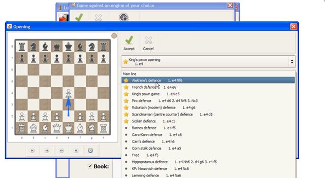 Интерфейс шахматной программы Lucas Chess