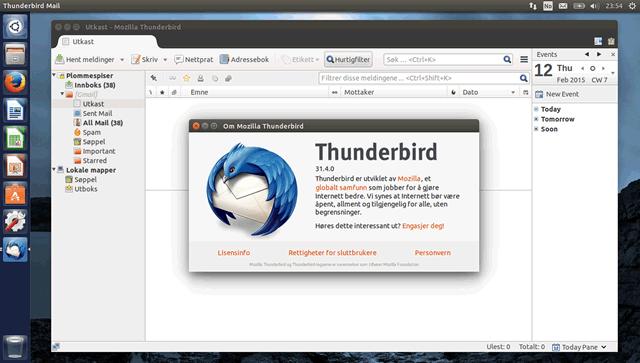 Главное окно почтового приложения Thunderbird