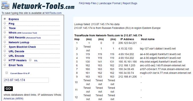 Сервис network-tools позволяет определить IP-адрес на основе обычного URL и наоборот