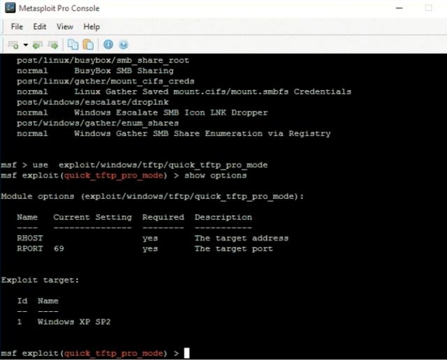 Список доступных параметров модуля можно вызвать командой show options