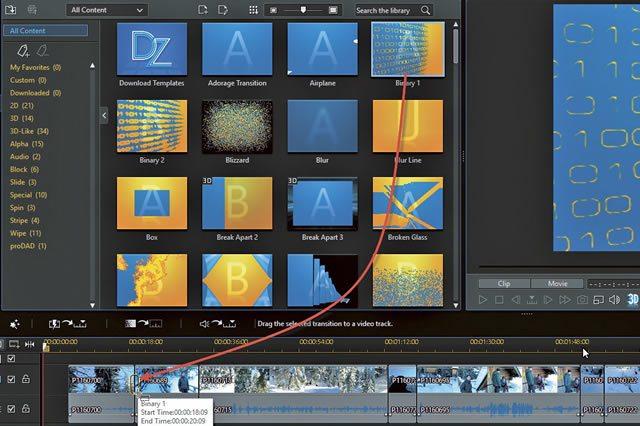 Установка формата перехода между клипами в CyberLink PowerDirector