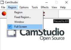 Включение режима полноэкранной записи в CamStudio