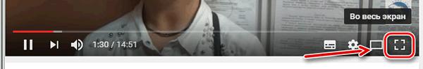 Значок для перехода в полноэкранный режим просмотра видео на YouTube