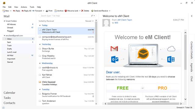 Схема пользовательского интерфейса eM Client