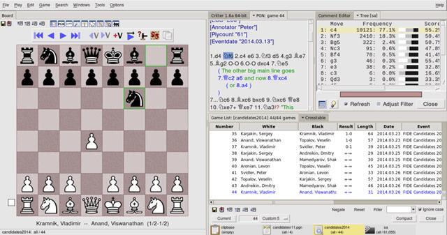 Интерфейс шахматного движка Scid vs PC