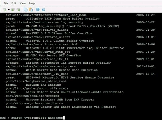 Команда search используется для поиска модулей в пакете Metasploit