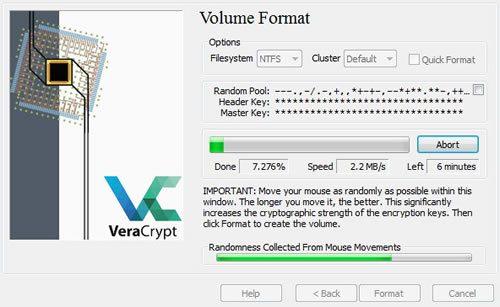 Процесс шифрования файлов в программе VeraCrypt