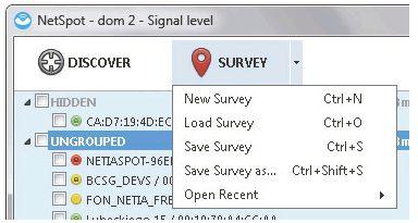 Сохранение карты покрытия сети, созданной с помощью NetSpot