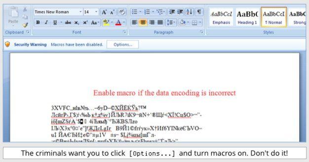 Документ Word, осуществляющий загрузку трояна Locky
