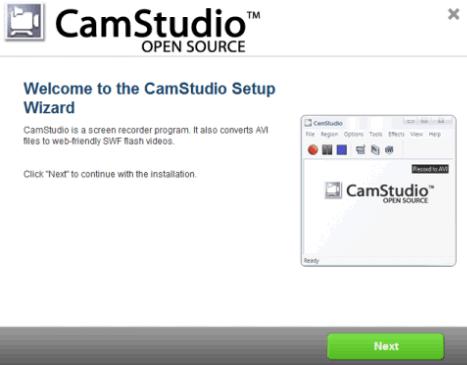 Окно установки приложения CamStudio