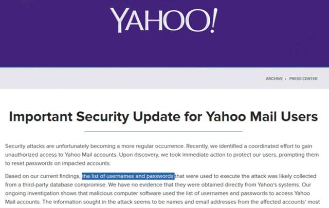 Сообщение Yahoo о краже логинов и паролей пользователей