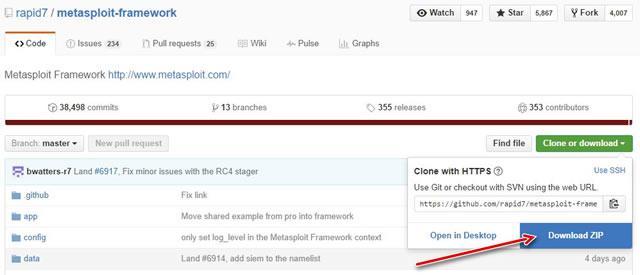 Загрузка Metasploit с портала GitHub