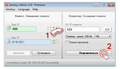 Окно подключения через программу Ammyy Admin