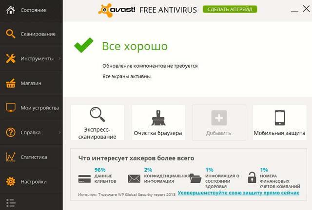 Бесплатный Avast обеспечивает базовую защиту компьютера от сетевых вирусов
