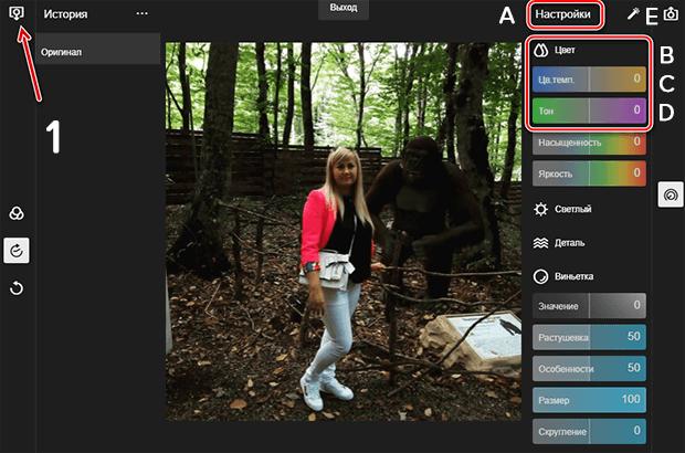 Коррекция цвета фотографии в онлайн-редакторе
