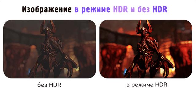 Сравнение игрового изображения в режиме HDR и без HDR