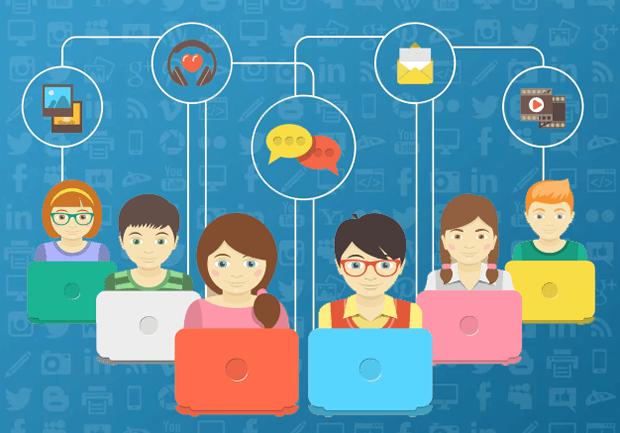 Иллюстрация связей детей в социальных сетях