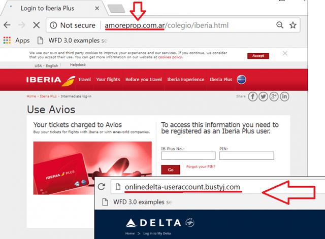Пример поддельного сайта авиакомпании