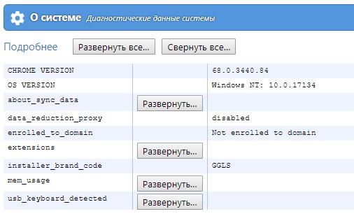 Диагностические данные о системе в браузере Chrome