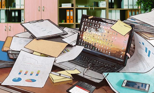 Опасное поведение за рабочим столом в офисе