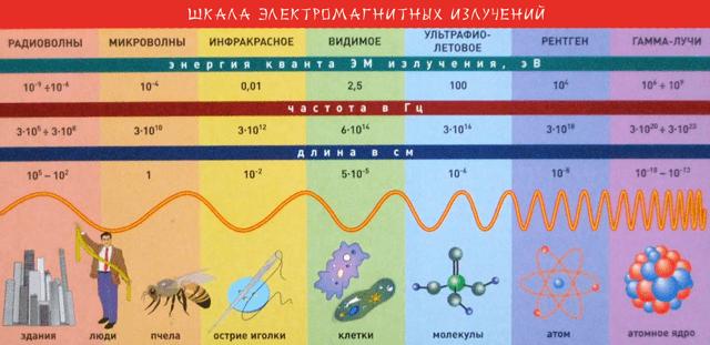 Распределение типов электромагнитного излучения по шкале