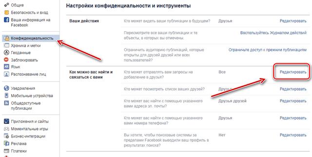 Управление конфиденциальностью аккаунта на Facebook