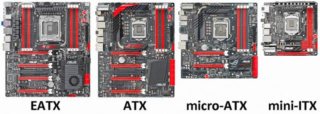 Сравнение стандартных форматов материнских плат компьютера