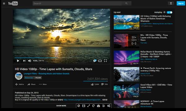 YouTube под управлением Enhancer for YouTube